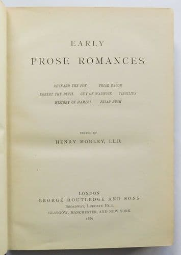 Early Prose Romances Morley Victorian book Hamlet Reynard the Fox Guy of Warwick